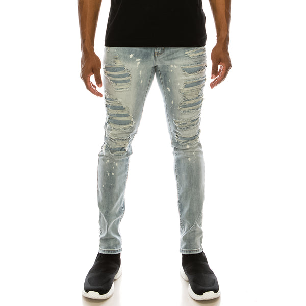 HEAVY DISTRESSED DENIM JEANS