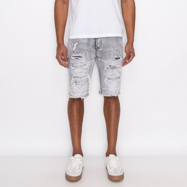 DISTRESSED ILLUSION DENIM SHORTS - GREY