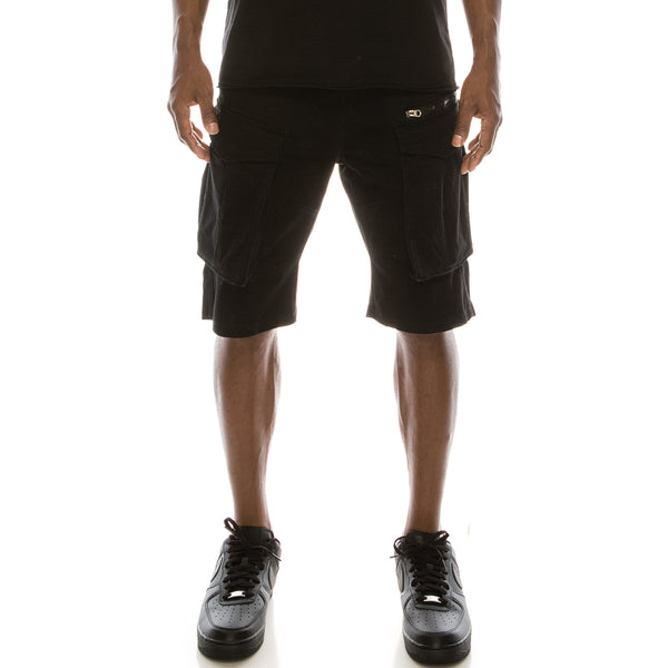 BIG CARGO ZIPPER COLOR SHORTS - BLACK