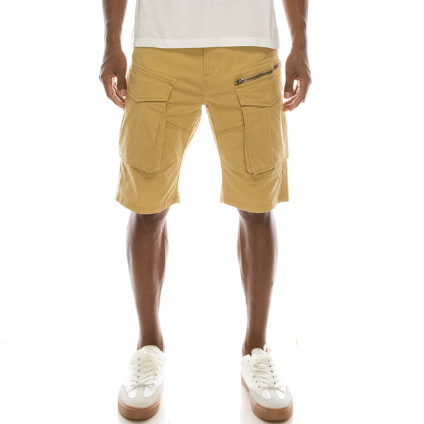 BIG CARGO ZIPPER COLOR SHORTS - KHAKI