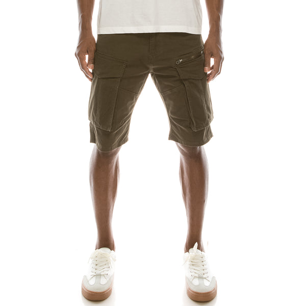BIG CARGO ZIPPER COLOR SHORTS - OLIVE