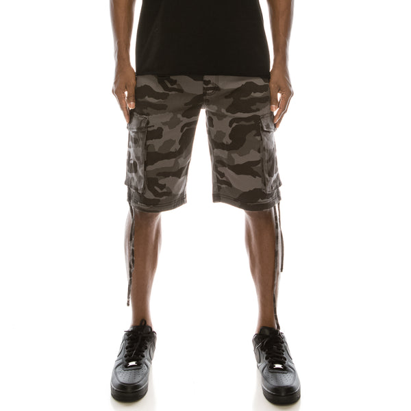 CAMO BELTED CARGO SHORTS - BLACK