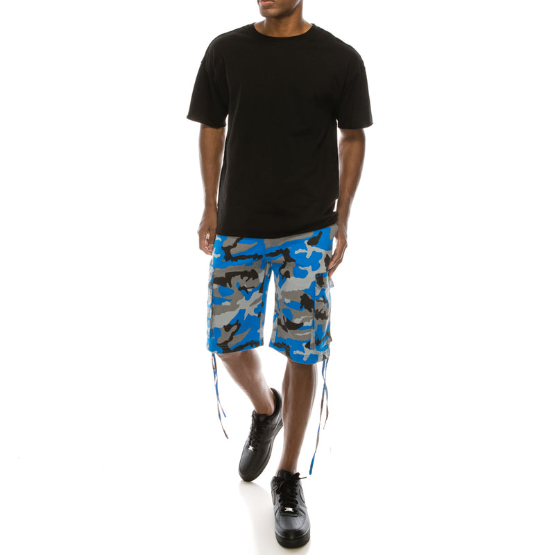 CAMO BELTED CARGO SHORTS - BLUE