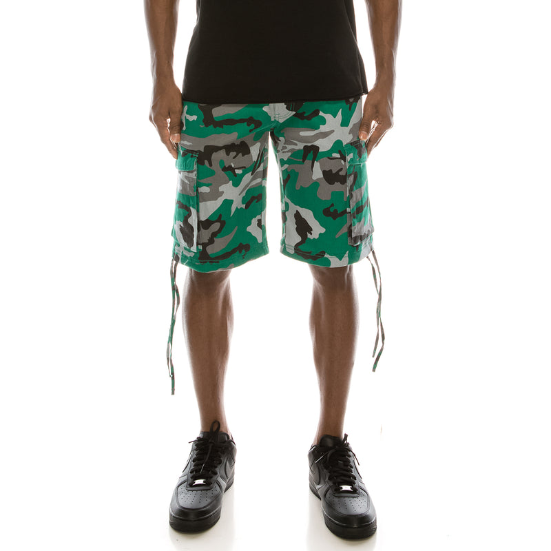 CAMO BELTED CARGO SHORTS - GREEN