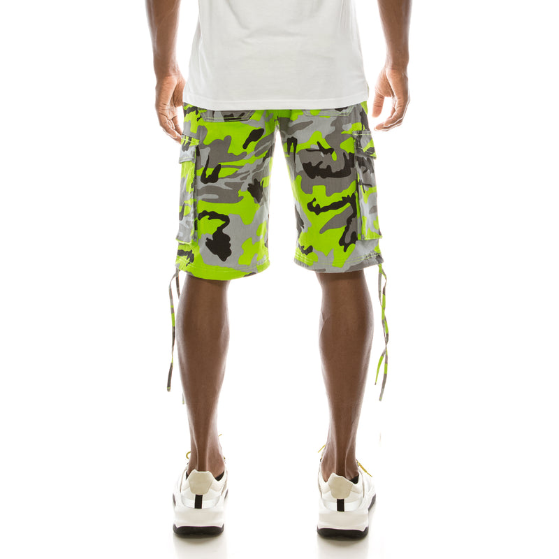 CAMO BELTED CARGO SHORTS - LIME