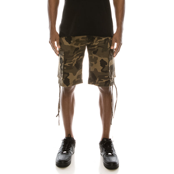 CAMO BELTED CARGO SHORTS - OLIVE