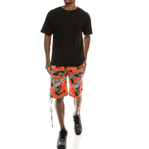 CAMO BELTED CARGO SHORTS - ORANGE