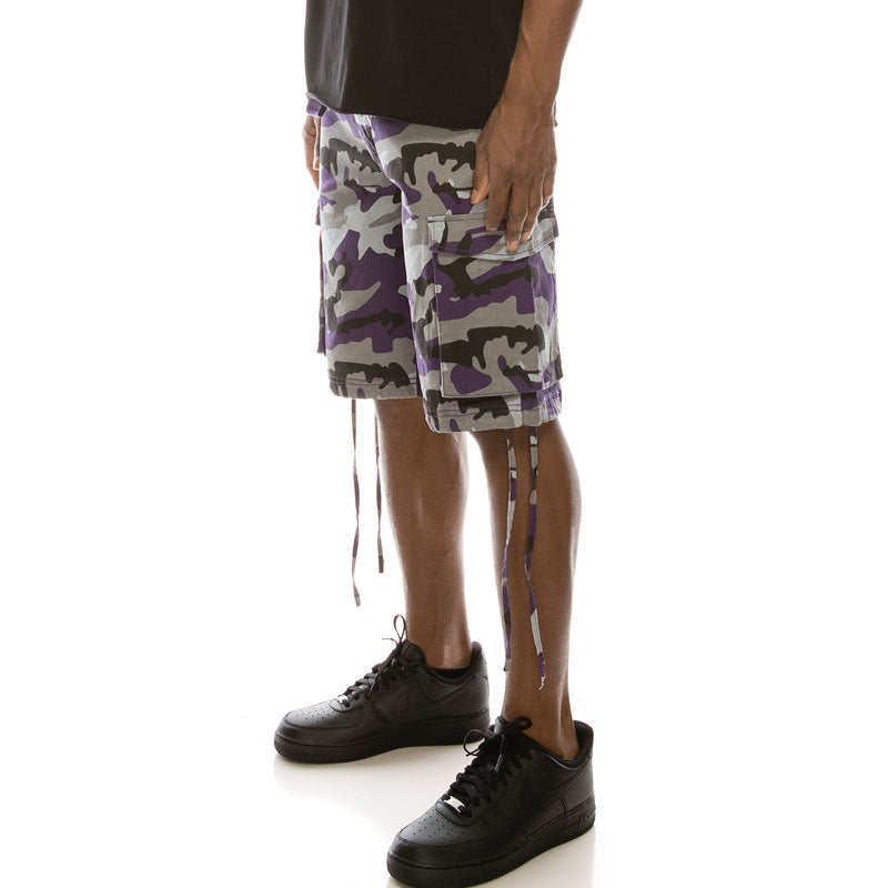 CAMO BELTED CARGO SHORTS - PURPLE