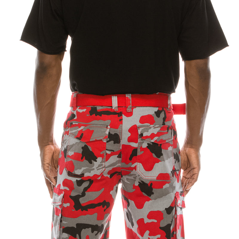 CAMO BELTED CARGO SHORTS -RED