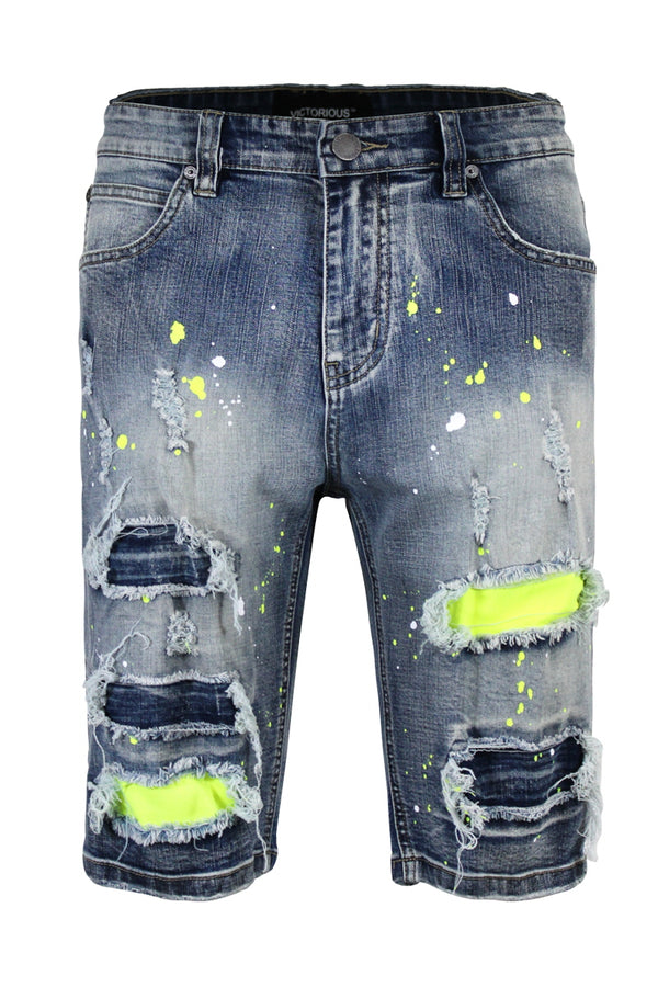 NEON PAINTED SPLITTER DENIM SHORTS
