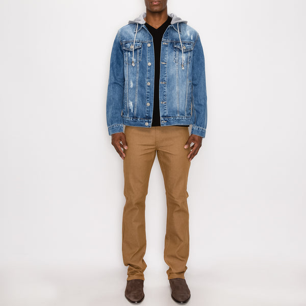 LAYERED HOODED DENIM JACKET - INDIGO