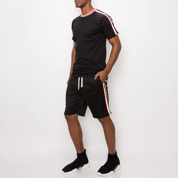 SIDE STRIPE TRACK T-SHIRTS -BLACK