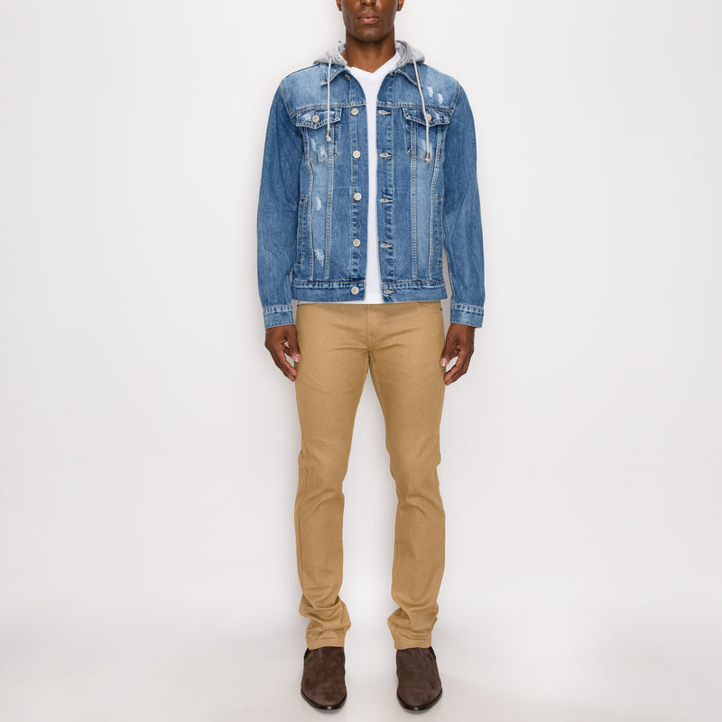 LAYERED HOODED DENIM JACKET - LT INDIGO