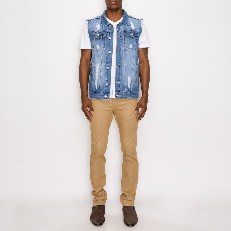 DISTRESSED DENIM VEST - INDIGO
