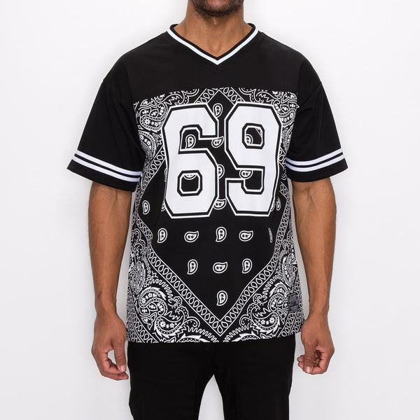 #69 BANDANA FOOTBALL SHIRTS - BLACK