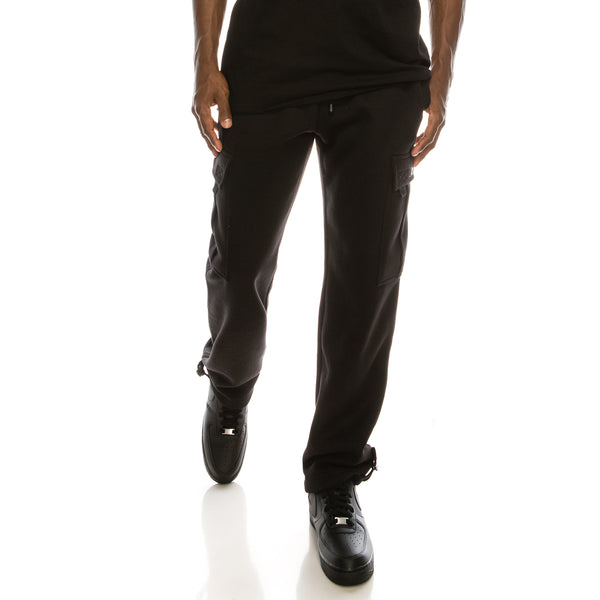 SOLID FLEECE HEAVYWEIGHT CARGO SWEAT PANTS - BLACK