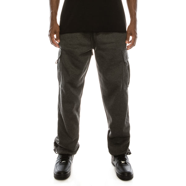 SOLID FLEECE HEAVYWEIGHT CARGO SWEAT PANTS - CHARCORL