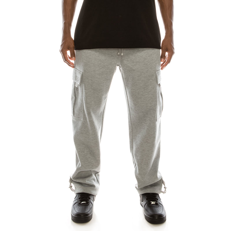 SOLID FLEECE HEAVYWEIGHT CARGO SWEAT PANTS - GREY