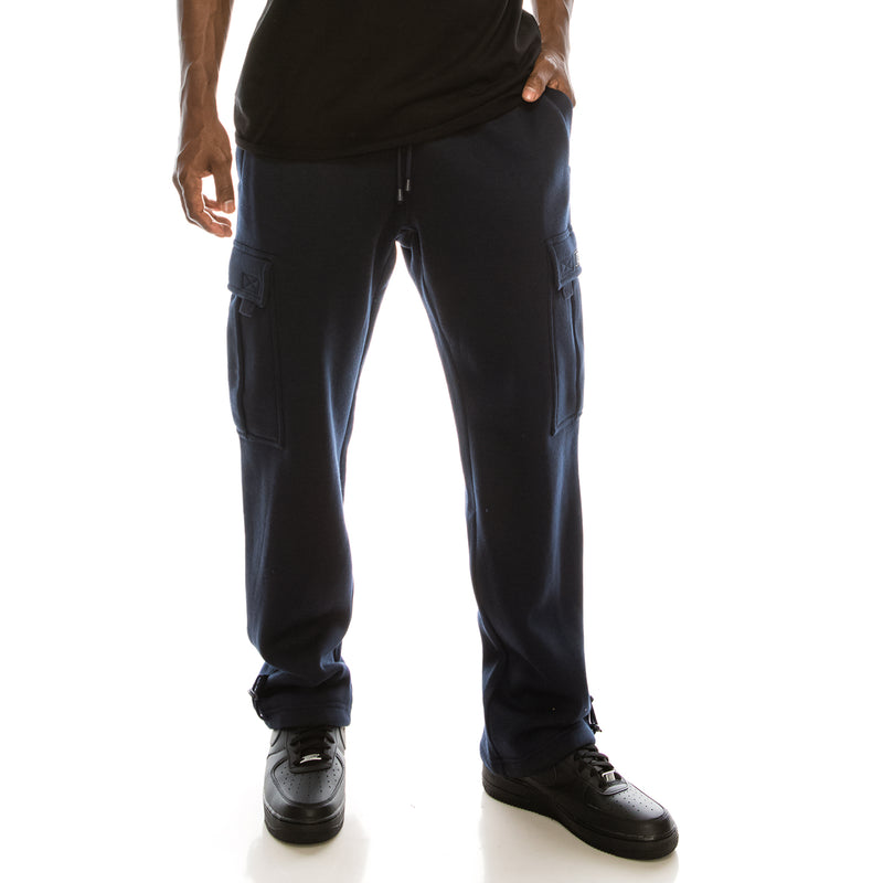 SOLID FLEECE HEAVYWEIGHT CARGO SWEAT PANTS - NAVY