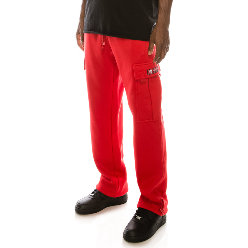 SOLID FLEECE HEAVYWEIGHT CARGO SWEAT PANTS - RED