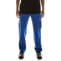 SOLID FLEECE HEAVYWEIGHT CARGO SWEAT PANTS - ROYAL BLUE