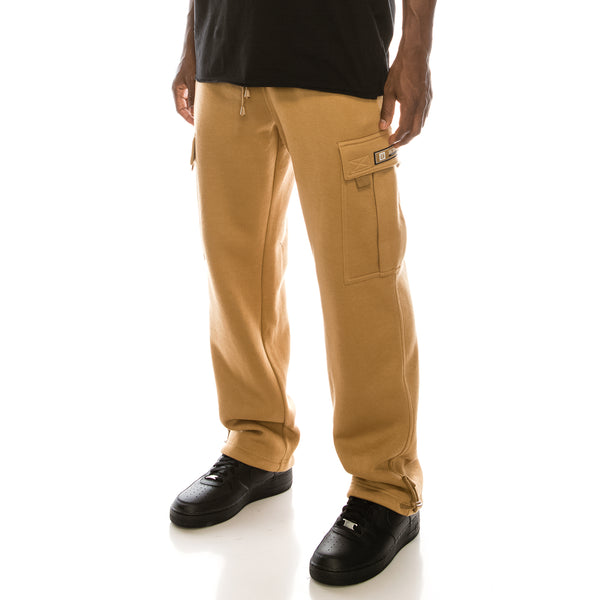 SOLID FLEECE HEAVYWEIGHT CARGO SWEAT PANTS - WHEAT