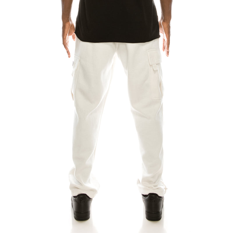SOLID FLEECE HEAVYWEIGHT CARGO SWEAT PANTS - WHITE