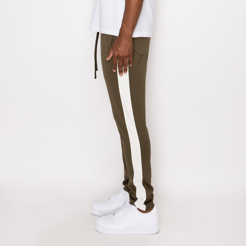 SKINNY FIT STRIPED TRACK PANTS - OLIVE / OFF WHITE