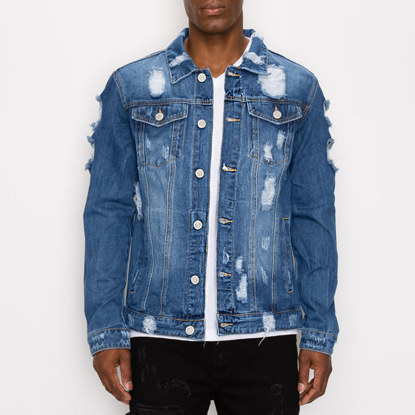 DISTRESSED FADED DENIM JACKET - INDIGO