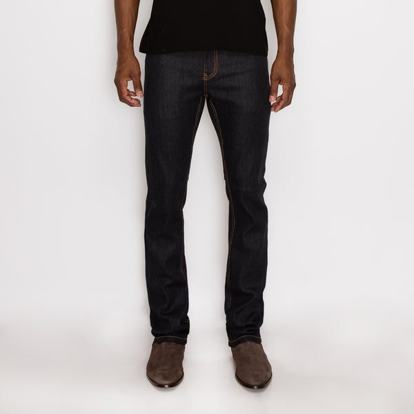SLIM RAW DENIM JEANS - BLACK / TIMBER