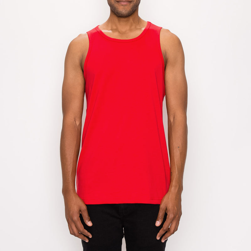 ESSENTIAL STRAIGHT HEM LONG LENGTH TANK TOP - RED