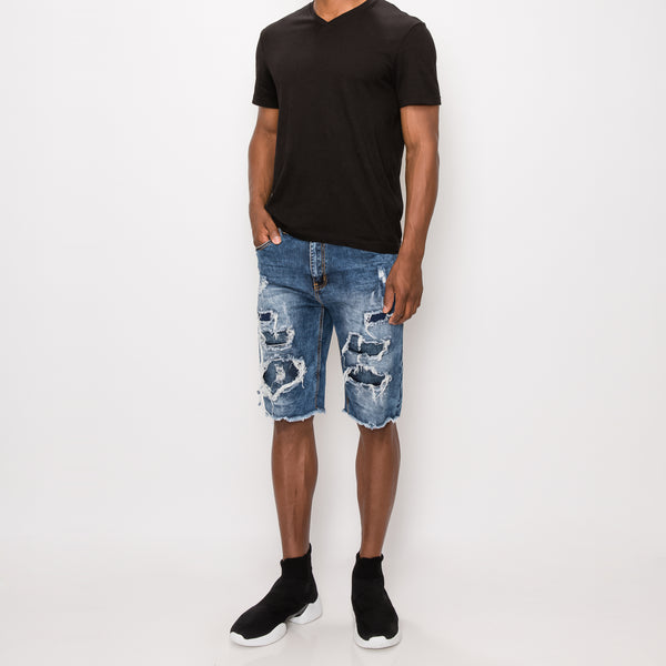 DISTRESSED ILLUSION DENIM SHORTS - DK INDIGO