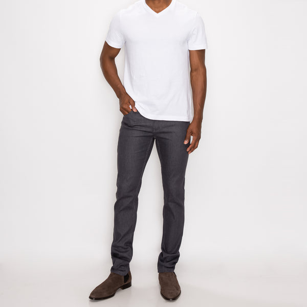 SKINNY RAW DENIM JEANS - CHARCOAL