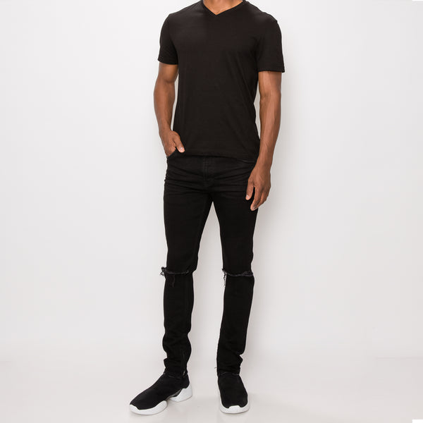 KNEE CUT SKINNY DENIM JEANS - BLACK