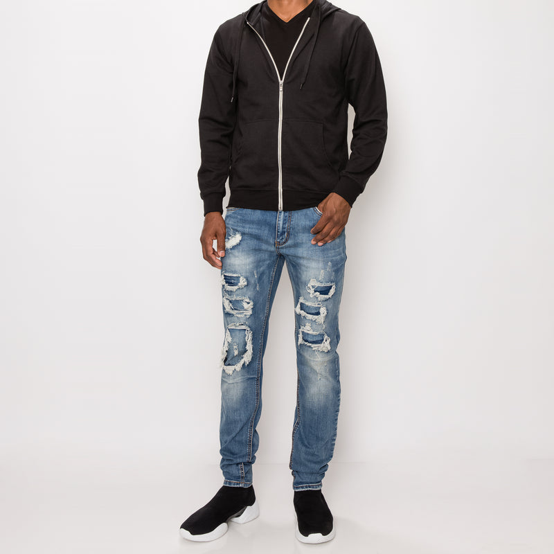 DISTRESSED ILLUSION JEANS - INDIGO