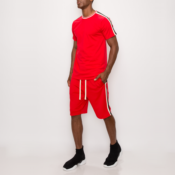 SIDE STRIPE TRACK SHORTS - RED