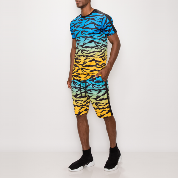 TIGER CAMO GRADATION TRACK SUITS SET - BLUE