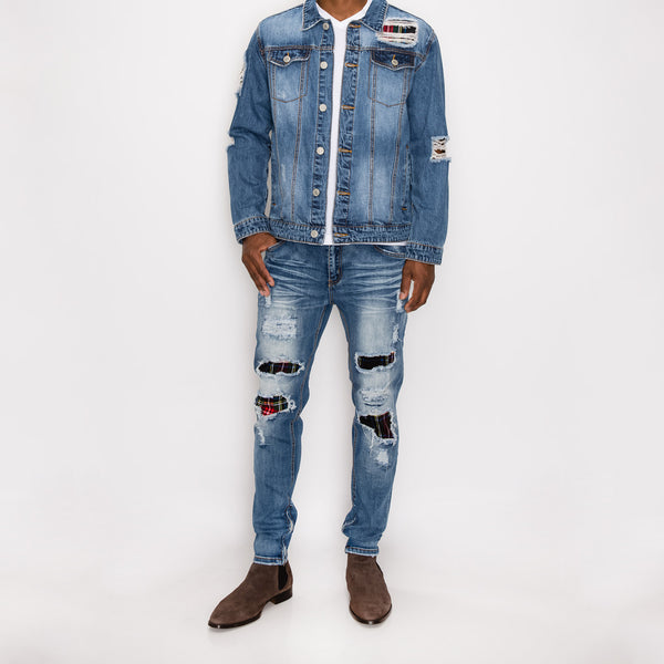 DISTRESSED PLAID DENIM JEANS - INDIGO