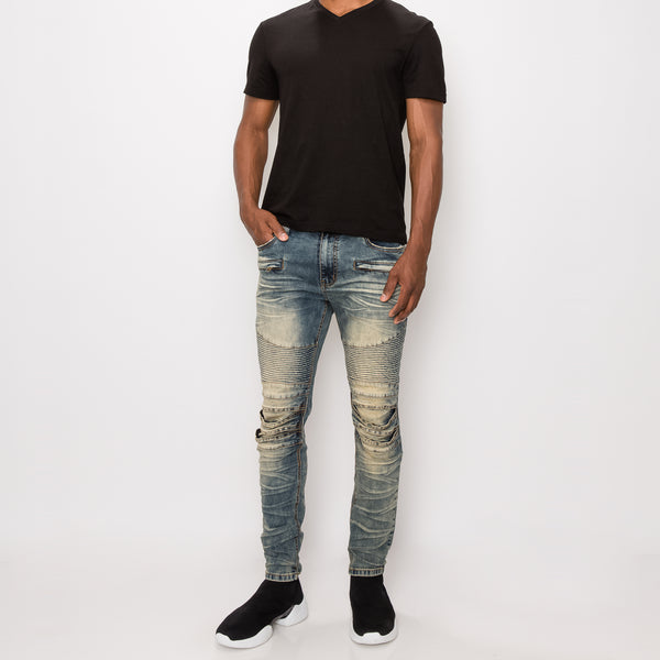 CREASED BIKER DENIM JEANS - SAND HILL