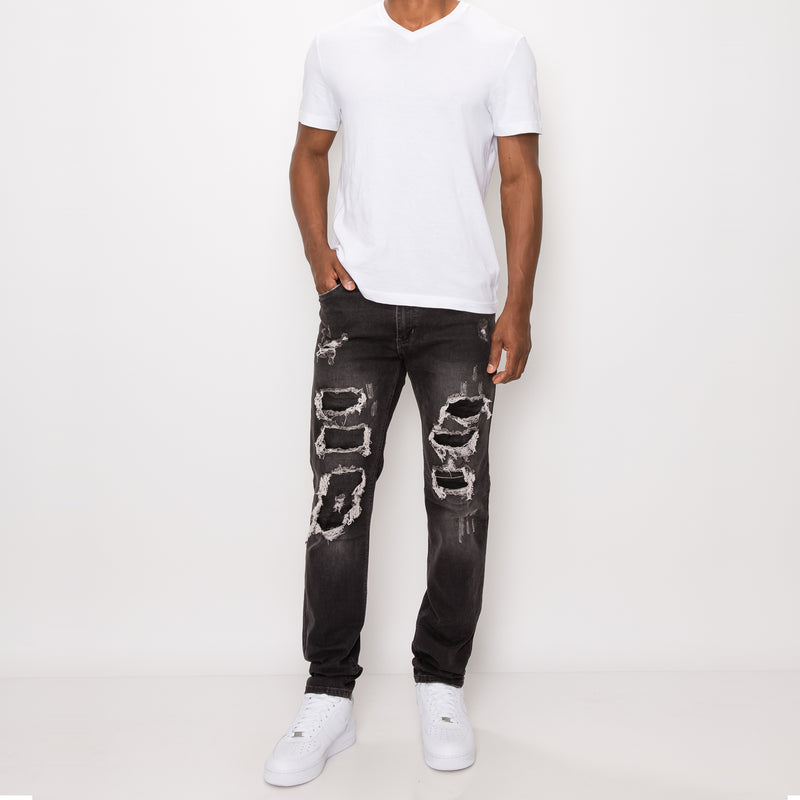 DISTRESSED ILLUSION JEANS - ASH BLACK