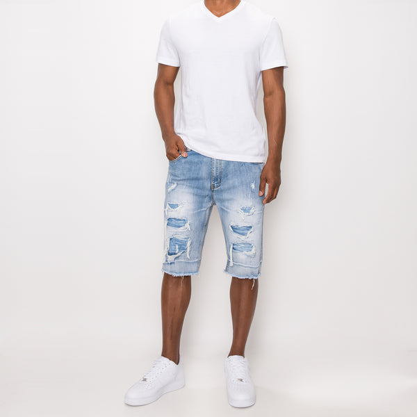 DISTRESSED ILLUSION DENIM SHORTS - LT INDIGO