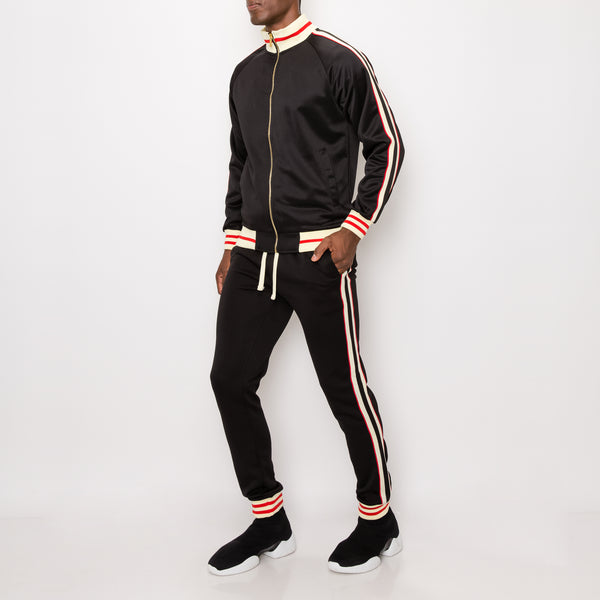 SIDE STRIPE TRACK SUITS - BLACK