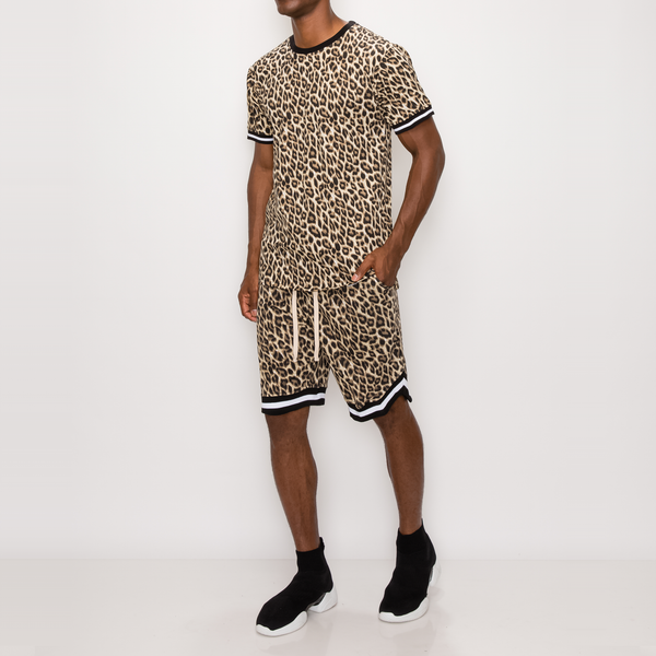 ANIMAL PRINT BASKETBALL SHORTS - BROWN