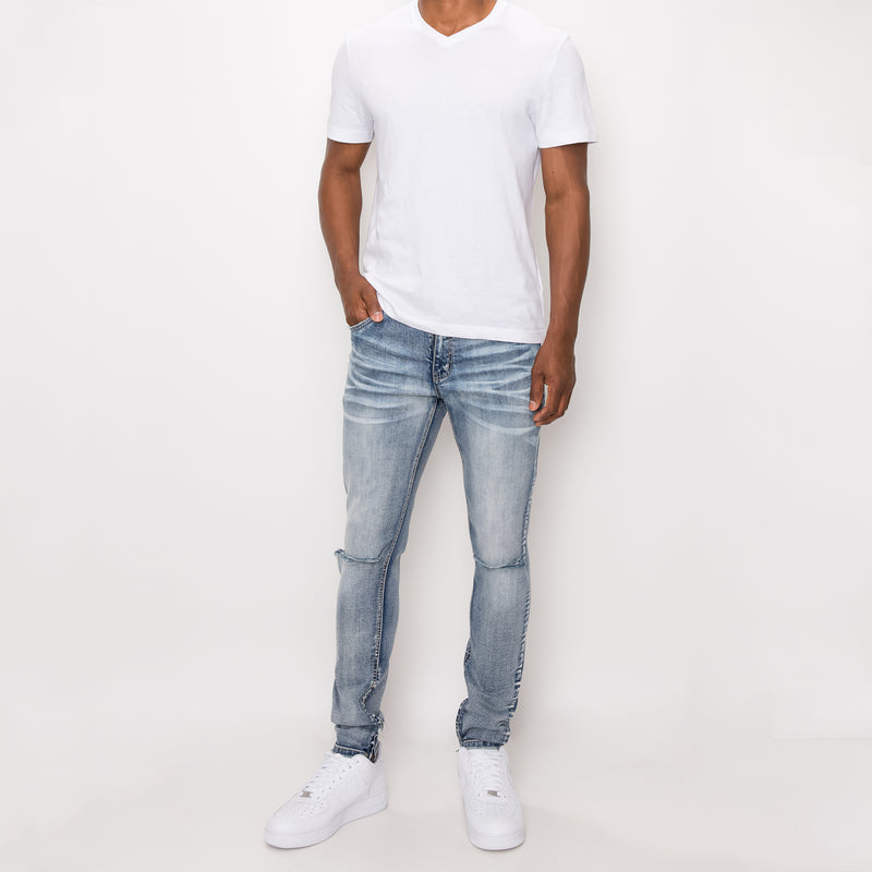 KNEE CUT SKINNY DENIM JEANS - BLUE SKY