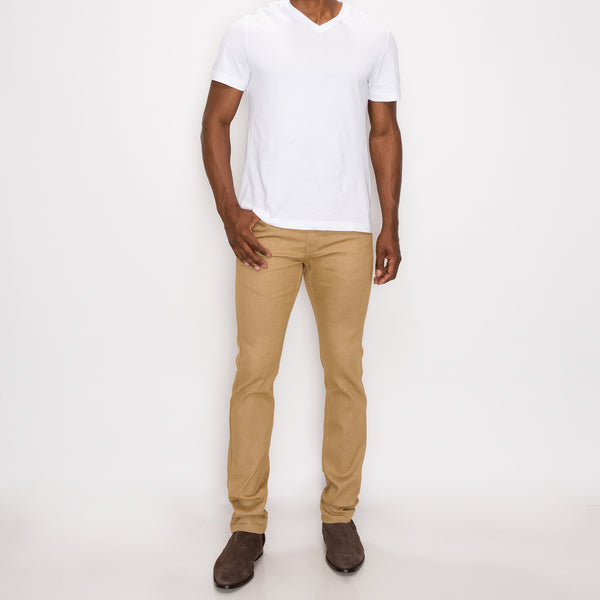 SKINNY RAW DENIM JEANS - KHAKI