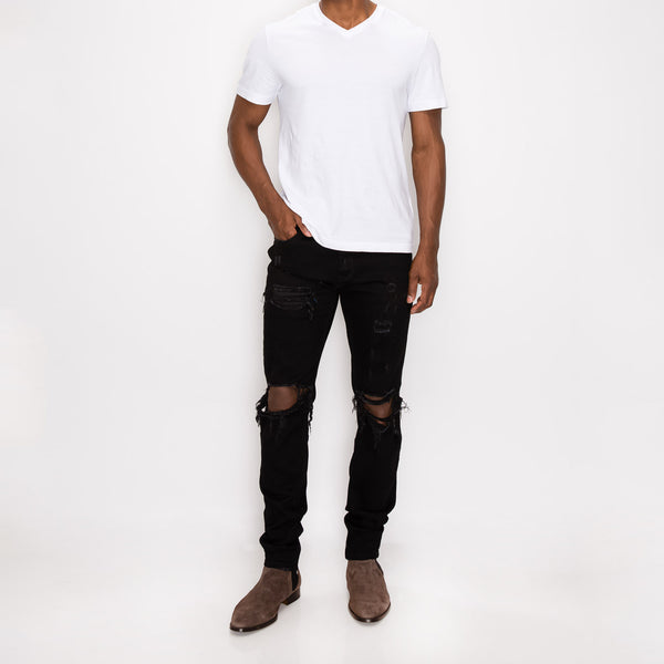 DISTRESSED DENIM JEANS - WORN BLACK