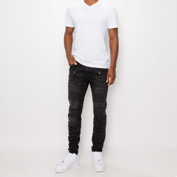 CREASED BIKER DENIM JEANS - SPIDER