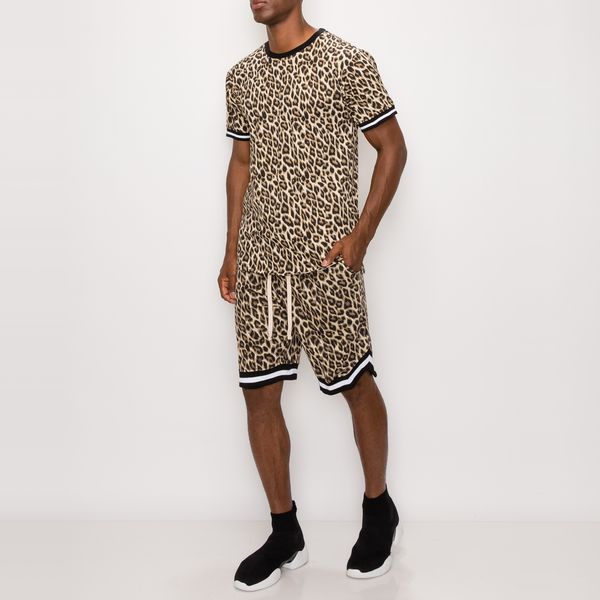 LEOPARD PRINT T-SHIRTS - BROWN