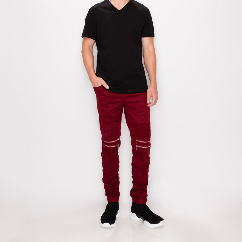 BUNGEE JOGGER PANTS - burgundy