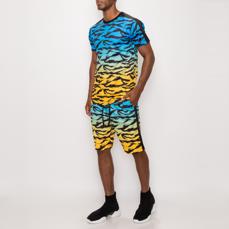 TIGER CAMO GRADATION T-SHIRTS - BLUE